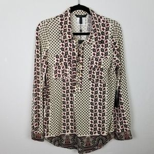BCBGMAXAZRIA tunic high low blouse XL
